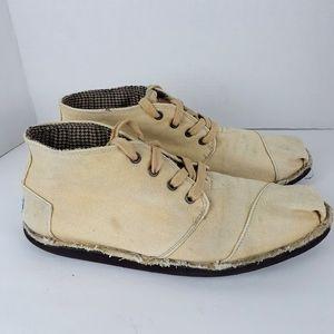 Toms tan canvas chukka boots shoes sz 11.5
